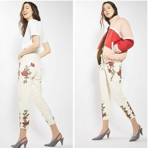NWT Topshop MOTO Rose Embroidered Mom Jean Size 8